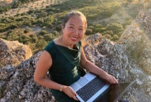 Bei sitting on a large rock outside working from a laptop